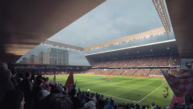 Image of Luton's planned new stadium at Power Court (Credit: Luton Town FC)