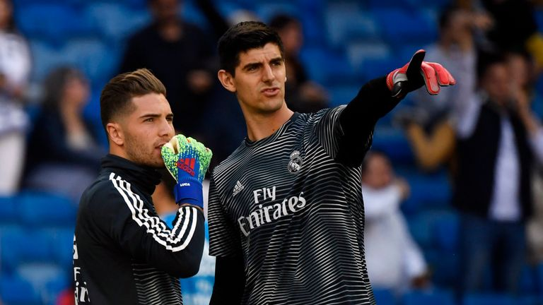 Thibaut Courtois (R), with fellow Real Madrid goalkeeper Luca Zidane (L) was dropped in place of Keylor Navas