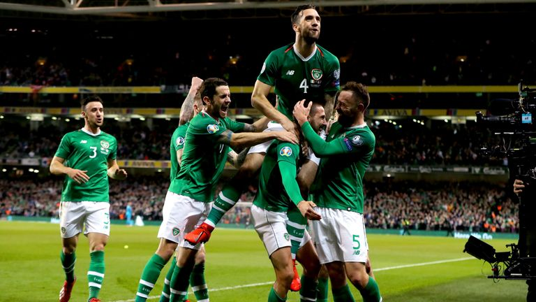 Keogh celebrates with goalscorer Conor Hourihane in the Republic of Ireland's 1-0 win against Georgia in March