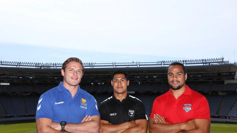 George Burgess (left) with New Zealand's Roger Tuivasa-Sheck and Leivaha Pulu of Tonga