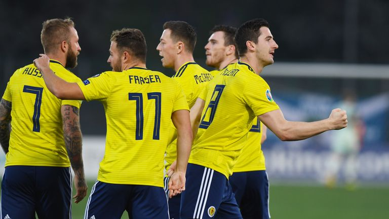 Scotland's Kenny McLean (right) celebrates his goal early on