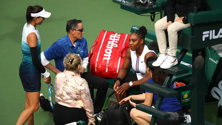 Williams withdrew in the second set against Muguruza