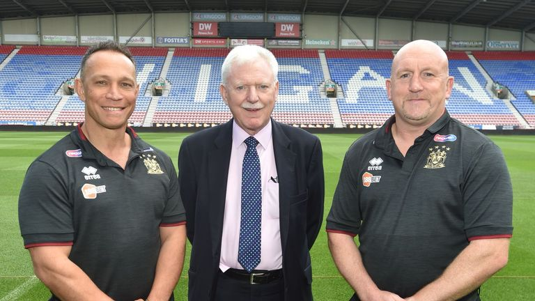 Shaun Edwards was unveiled alongside this season's coach Adrian Lam and Wigan owner Ian Lenagan last year