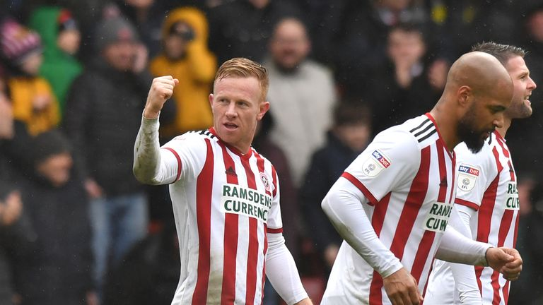 Mark Duffy celebrates scoring Sheffield United's second goal