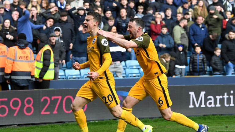 Solly March celebrates scoring for Brighton against Millwall