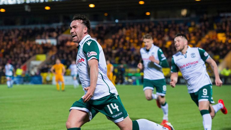Hibernian's Stevie Mallan has thirteen goals in all competitions in his debut season for the club
