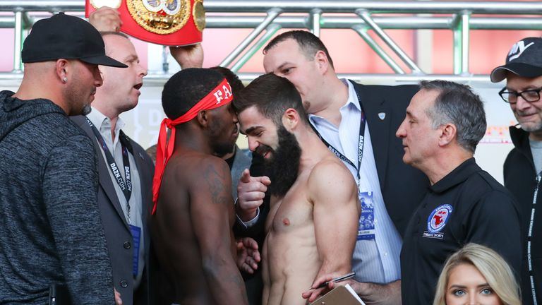 Tevin Farmer and Jono Carroll go face-to-face during the weigh-in