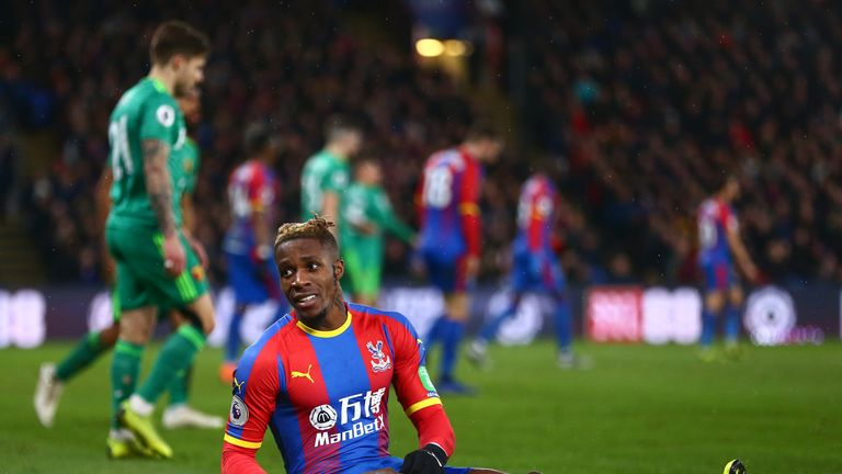 Zaha has been the target of hard tackling by Watford's players this season