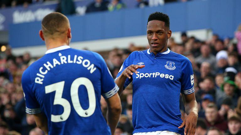 Yerry Mina and Richarlison celebrate against Chelsea