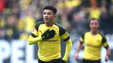 Jadon Sancho celebrates scoring for Borussia Dortmund