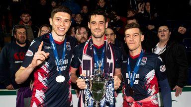 Ross County goalscorers (l-r) Ross Stewart, Brian Graham and Josh Mullin celebrate winning the Scottish Championship