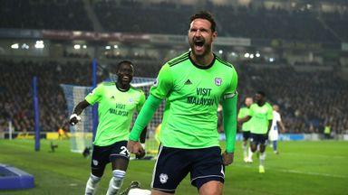 Sean Morrison celebrates after scoring Cardiff's second goal against Brighton