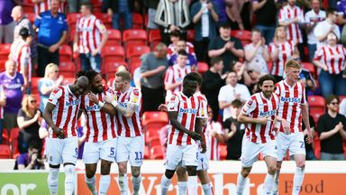 Ashley Williams celebrates scoring Stoke's first goal against Norwich
