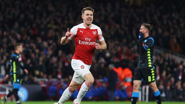 Aaron Ramsey scored against Napoli in the first leg of Arsenal's quarter-final