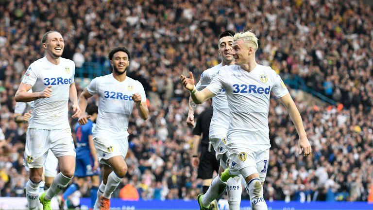 Alioski celebrates scoring against Bolton