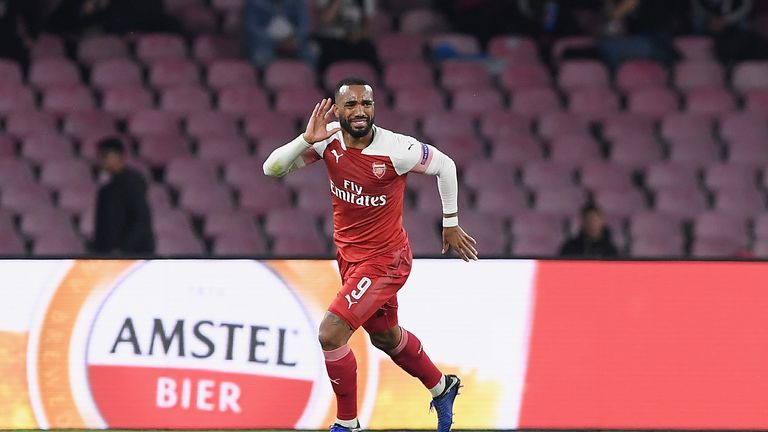 Alexandre Lacazette celebrates scoring the only goal of the night as Arsenal progressed to the Europa League semi-finals