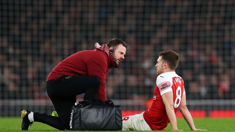 Aaron Ramsey picked up a groin injury in the victory against Newcastle