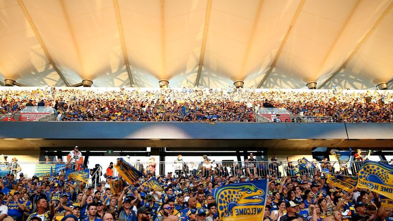 Fans at enjoy the clash  between the Parramatta Eels and Wests Tigers at Bankwest Stadium
