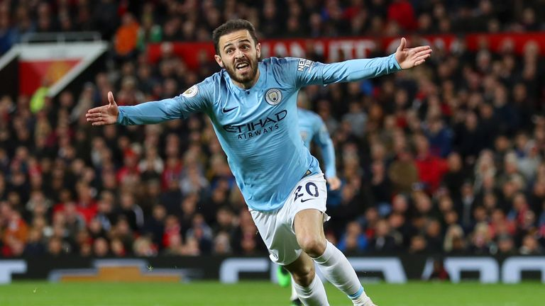 Bernardo Silva celebrates his opening goal at Old Trafford
