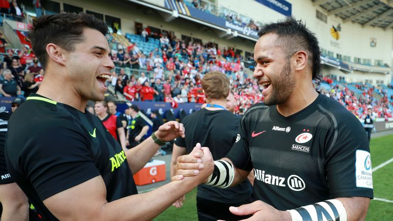 Billy Vunipola celebrates Saracens' win to reach the Champions Cup final