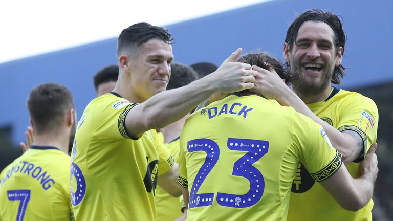 Bradley Dack celebrates with team-mates after doubling Blackburn's lead