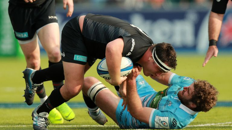 Callum Gibbins (R) has not played since suffering concussion against Saracens last month