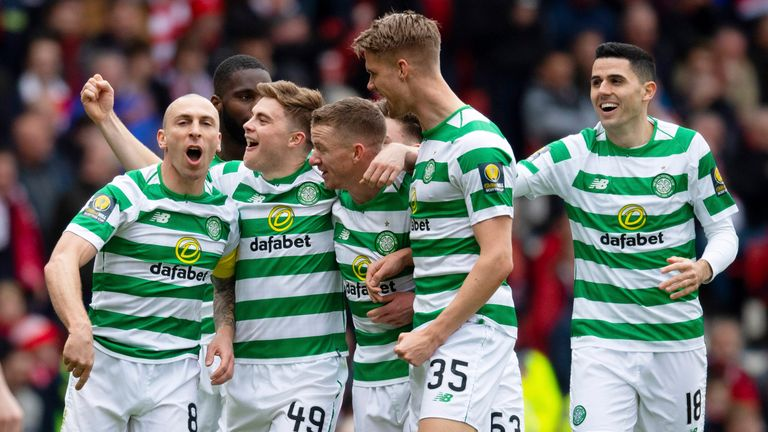 Celtic's James Forrest celebrates his goal with Scott Brown (left), Odsonne Edouard, Jonny Hayes, Kristoffer Ajer and Tom Rogic