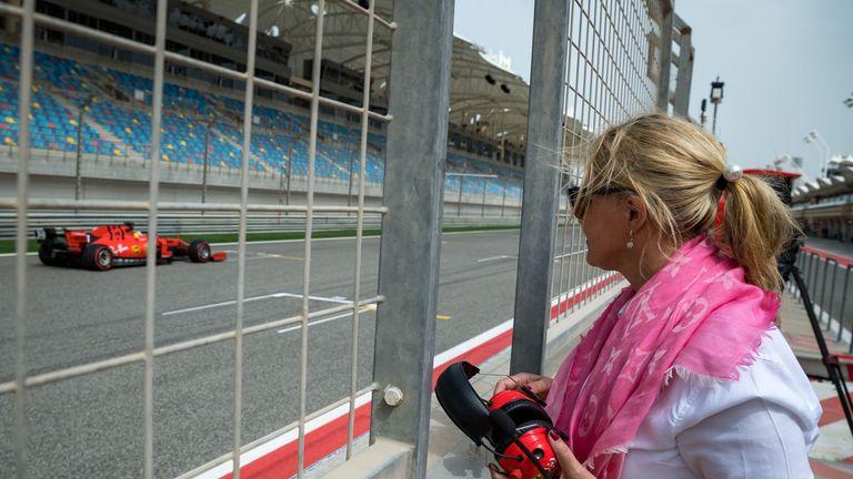 Corinna Schumacher watches her son's progress from trackside