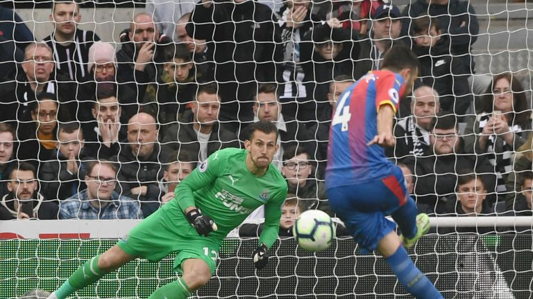 Luka Milivojevic netted a late penalty for Palace at Newcastle