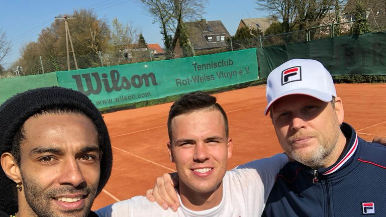 Daniel Altmaier has fellow pro Dustin Brown (left) and coach Patrice Hopfe (right) boosting his career for the clay campaign
