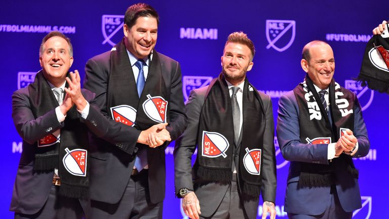 Inter Miami CF's owner David Beckham (L) with MLS Commissioner Don Garber