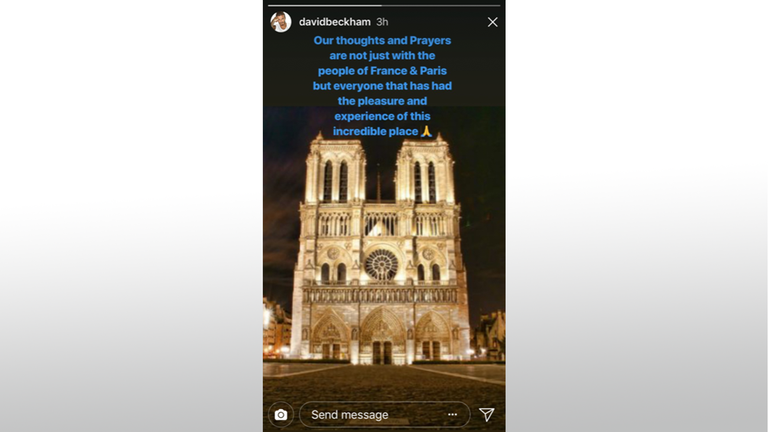 David Beckham also posted his thoughts on social media