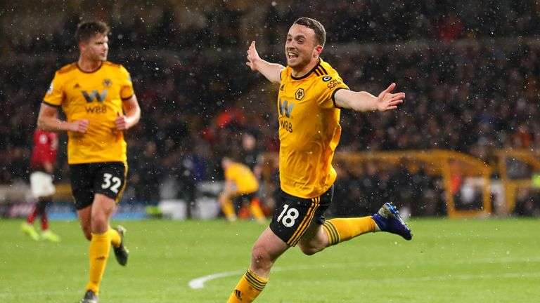 Diogo Jota celebrates scoring for Wolves against Manchester United