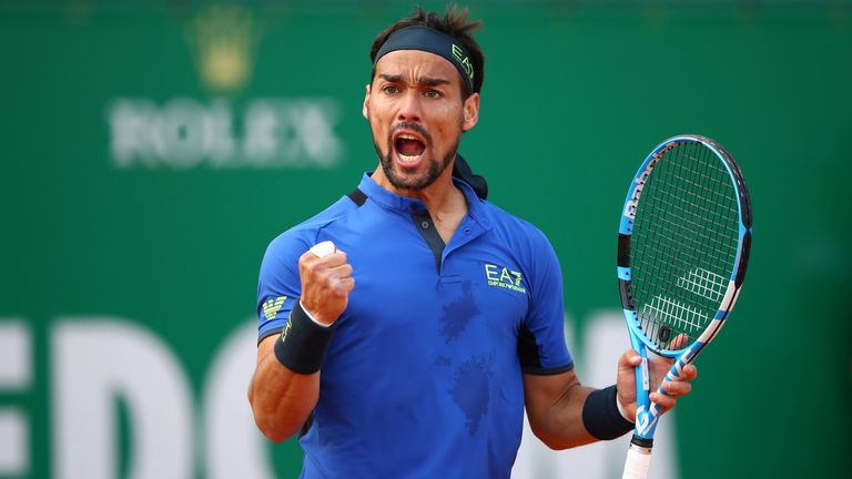 Fabio Fognini was inspired during his win against Alexander Zverev