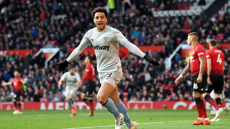 Felipe Anderson celebrates his equaliser after having a goal incorrectly ruled out for offside