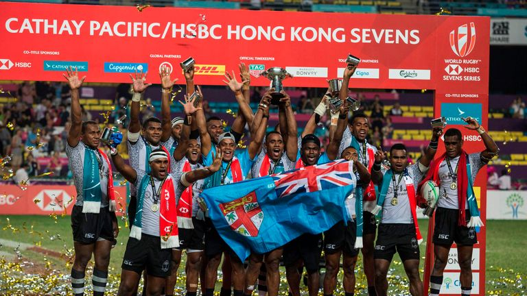 Fiji celebrating their fifth successive victory in Hong Kong