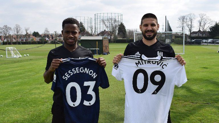 53213ed08c3 Aleksandar Mitrovic and Ryan Sessegnon hold their double digit Fulham shirts