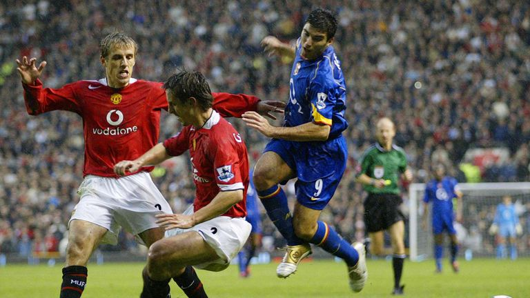 Jose Antonio Reyes is marked by both Gary and Phil Neville in Man Utd's infamous win over Arsenal in 2004, which ended the Gunners' 49-game unbeaten run