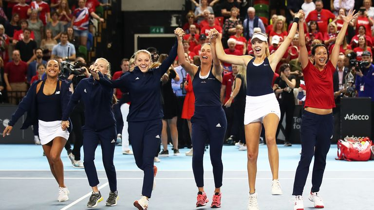 The jubilant British contingent celebrate their victory at London's Copper Box