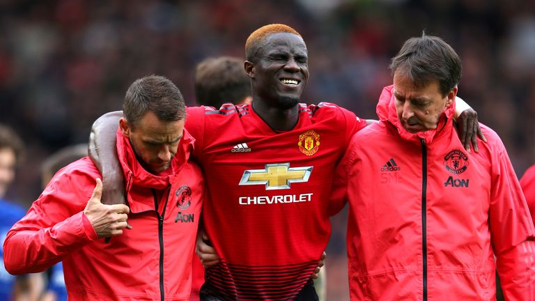 Eric Bailly was forced off the field during Manchester United's draw with Chelsea