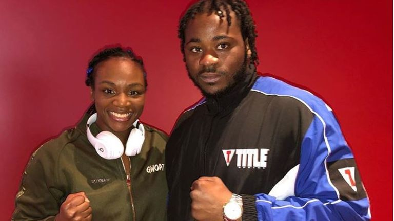 Franklin appeared on same bill as Claressa Shields (pic courtesy of Jermaine Franklin's Instagram account)