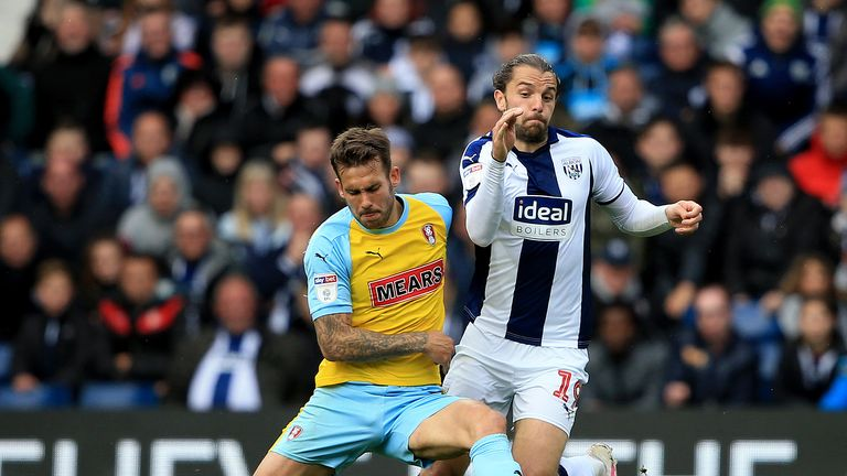 West Bromwich Albion's Jay Rodriguez and Rotherham United's Joe Mattock battle for the ball