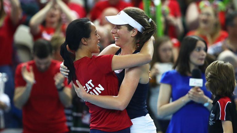 Captain Anne Keothavong congratulates Johanna Konta after her victory