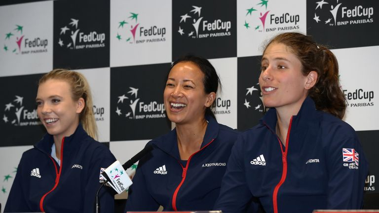 Johanna Konta speaks to reporters, alongside captain Anne Keothavong and Boulter, after Great Britain's World Group II promotion