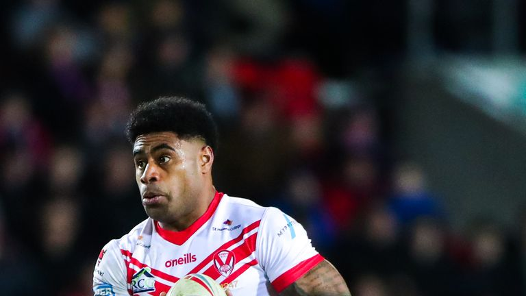 Kevin Naiqama scored four tries as St Helens thrashed Hull FC