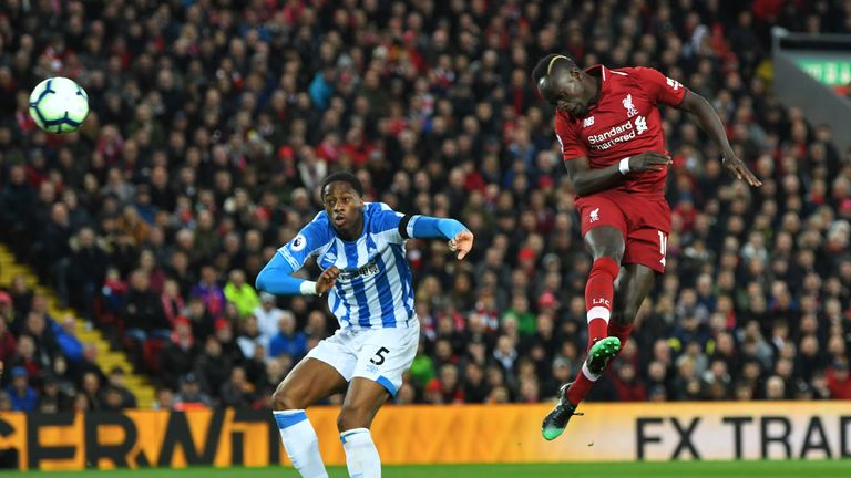 Sadio Mane scores with his head against Huddersfield last season, one of 22 headed goals Liverpool have scored since August 2018
