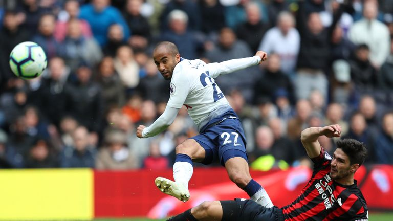 Moura scores Tottenham's fourth goal, completing his hat-trick