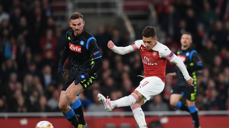 Lucas Torreira shoots for Arsenal's second goal