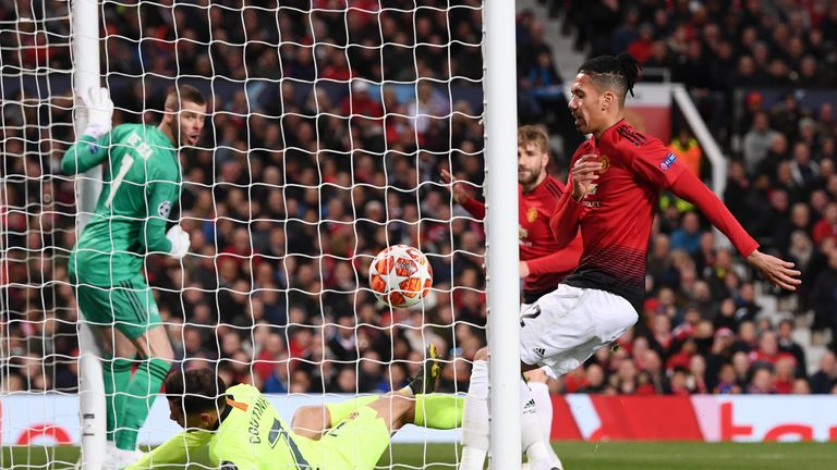 Luke Shaw's own goal gave Barcelona a narrow win at Old Trafford in the first leg