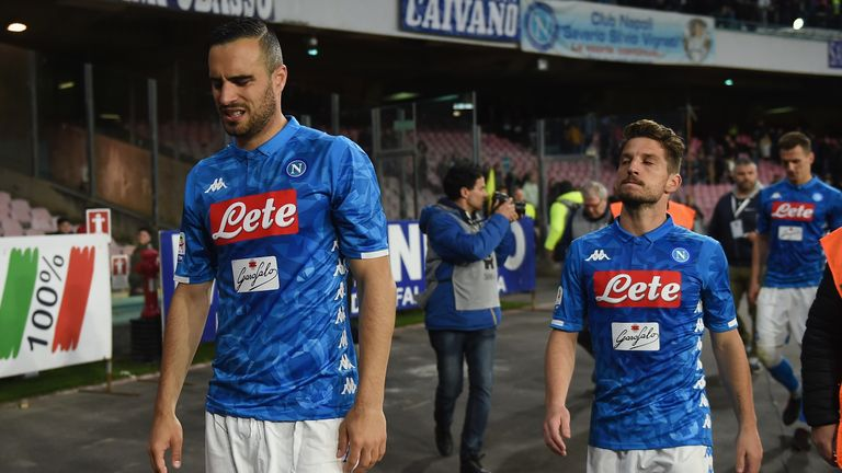 Nikola Maksimovic and Dries Mertens react after Napoli's draw